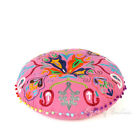 """24"""" Pink Embroidered Round Colorful Decorative Floor Pillow Cover Meditation Cus"""