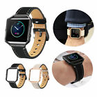 For Fitbit Blaze Band w/ Frame Replacement Soft Leather Strap Wrist Watch Bands