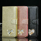 Leather Bling Heart Wallet Glitter Book Case Cover For Apple phone 6 7 8 X XR