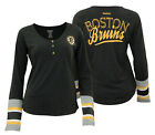 Reebok NHL Women's Boston Bruins T-Shirt Long Sleeve Henley Striped $24.95 USD on eBay