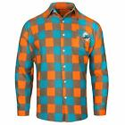 Forever Collectibles NFL Men's Miami Dolphins Check Long Sleeve Flannel Shirt $34.95 USD on eBay