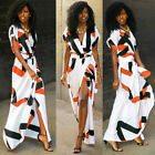 Women Floral Chiffon Clothes Short Sleeve Vintage Boho Maxi Split Dress Dresses