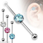 SEXY 3 COLOR LOT OF SURGICAL STEEL ROUND CZ INDUSTRIAL BARBELLS EAR BODY JEWELRY image