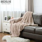 Bedsure Plush Faux Fur Reversible Fleece Throw Fuzzy Warm Soft Bed Sofa Blanket  image