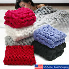 Luxury Hand Chunky Knitted Line Yarn Warm Throw Over Bed Soft Blanket Bedspread image