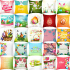 Happy Easter Cotton Cushion Cover Bunny Home Decor Sofa Festival Pillow Case #G image