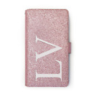Personalised Initial Pink Glitter Phone Case PU Leather Cover For Huawei