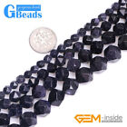 Semi Precious Stone Faceted Blue Sandstone Round Beads for Jewelry Making 15""