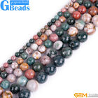Natural Multi-Color Ocean Jasper Gemstone Faceted Round Jewelry Making Beads 15""