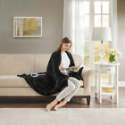 Heated Sapphire Grey Black Brown Mink Faux Fur Stripes Couch Throw Bed Blanket  image