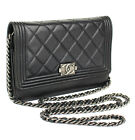 CHANEL Boy Chanel Black Quilted Lambskin Chain Shoulder Bag #44978 from Japan