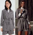 ZARA LAPEL COLLAR CHECKED BELTED MASCULINE DOUBLE BREASTED BLAZER FROCK JACKET
