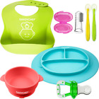 7PC Silicone Baby Feeding Set - Silicone Bowl and Silicone Plates - Suction Bowl