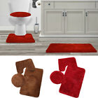 3PIECE BATHROOM SET RUG CONTOUR MAT TOILET LID COVER PLAIN SOLID COLOR BATHMATS