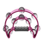 Double Row Jingles Half Moon Musical Metal Tambourine Percussion Drum Party KTV
