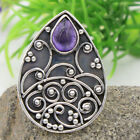 Bali Style Amethyst Gemstone Solid Ring 925 Sterling Silver Choose Ring Size
