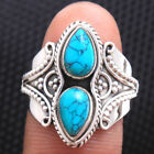 Turquoise Cab Gemstone Handmade Women Ring 925 Sterling Silver Choose Ring Size