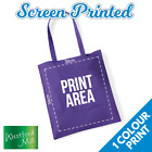 Custom Screen Printed Personalised Tote Bag - 1 Print Colour Bags Logo Text Lot