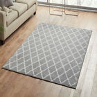 MEDIUM - EXTRA LARGE GREY MOROCCAN TRELLIS QUATREFOIL PATTERNED NON-SHEDDING RUG