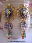 Frida Kahlo altered art dangle earrings, one of a kid jewelry, gift boxed
