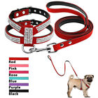 Rhinestone Suede Leather Padded Puppy Small Dog Harness & Leads Chihuahua Yorkie