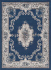 Blue Traditional-European Scrolls Petals Garlands Area Rug Medallion HMP3907