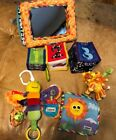 Baby toy lot, mirror, book, dragonfly, soft blocks, lions