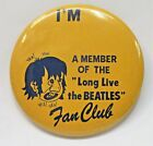 """large 3.5"""" I'M A MEMBER LONG LIVE THE BEATLES Fan Club pinback button VARIANT"""