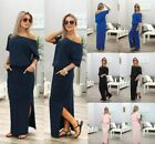 2019 Womens Off The Shoulder Ruffle Party Dresses Side Split Beach Maxi Dress