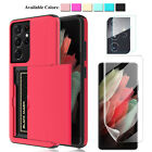 For Samsung Galaxy S21 / S21 Ultra 5G Wallet Card Holder Case Screen Protector