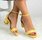 Womens Low Mid Heel Block Cuff Peep Toe Court Sandals Ladies Ankle Strap Shoes