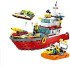 474Pcs Firefighting Pulley Yacht Model Building Blocks Fit Lego Control Ship Ves