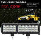 "PAIR 7""INCH 180W TRI-ROW LED WORK DRIVING LIGHT BAR FLOOD FIT FOR JEEP FORD 4WD"