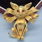 RARE Vintage Fox Brooch BOUCHER 1960s Red Glass Eyes Goldtone Bow Jewellery