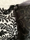 Midnight Black  FloralFlower Lace & Sequins on  Mesh Dressmaking Fabric 1.7mts