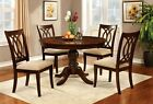 Brown Cherry Finish Round Pedestal Dining Room Furniture 5pc Set Padded Fabric