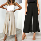 Summer Womens Casual Pants Sexy Pleated High Waist Loose Wide Leg Trousers S-XL