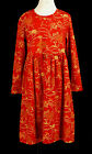 203 Hanna Andersson girl ruffle floral red orange dress holiday EUC 7