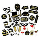 36pcs Birthday Party Photo Booth Props 16/18/21/30/40/50/60th Party Decorations