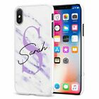 Personalised Marble Phone Case Cover for Apple iPhone Initial Text Name 074