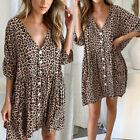 New Women Leopard Print Buttons Short Sleeve Mini Dress Summer Loose Dresses h8
