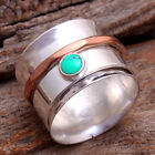 Turquoise 2 Tone Spin Band unisex Ring 925 Sterling Silver Jewelry All Size us