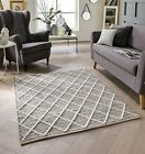 LARGE THICK GREY CREAM 100% WOOL 3D SAVANNAH TRELLIS BERBER DIAMOND PATTERN RUG