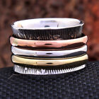 Meditation Fidget Ring 3 tone Spinner Solid 925 Sterling Silver Jewelry all Size