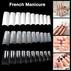 500x Natural/Clear/White False Half Nail Tips Acrylic UV Gel French Art Manicure
