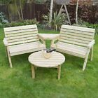 Barrowden Outdoor, Wooden, 4 Seater Garden Companion Seat / Furniture / Bench