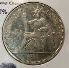 1896A French-Indo China 1 Piastre Silver Coin