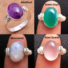 Rose Quartz Moonstone Onyx Amethyst Gemstone 925 Sterling Silver Ring All Size