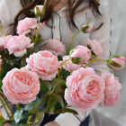 Plastic Artificial Peony Rose Real-like Flowers Bridal Bouquet Gifts Display