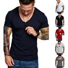 Mens V Neck Summer Tops Short Sleeve T-shirt Basic Tee Shirt Casual Slim Fit Top image